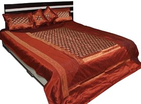 Stylish Elephant Brocade Double Size Bed Cover (Brown)