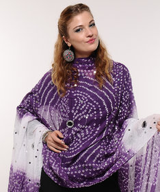 Stylish Mirror Work Cotton Bandhani Dupatta (Purple)