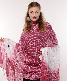 Mirror Work Cotton Bandhej Dupatta (Pink)