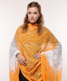 Stylish Mirror Work Cotton Bandhani Dupatta (Yellow)