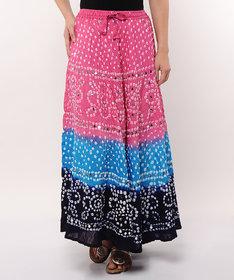 Bandhej Hand Work Stylish Cotton Skirt (Multi Color)