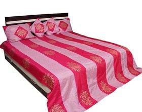 Stripes Design Gold Print Bed Cover