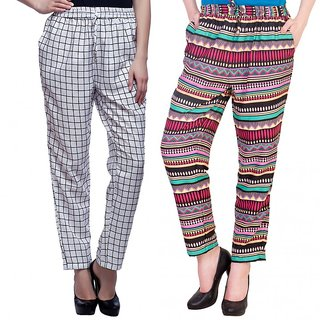 Mallory Winston White Checkered and Multi coloured Womens Trouser