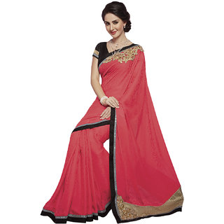 Subhash Daily Wear Red Color Georgette saree Saree/Sari