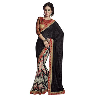 Subhash Daily Wear Multicolor Color Georgette Jacquard pallu Georgette printed skirt Saree/Sari