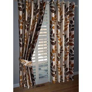 P Home Decor Polyester Window Curtains (Set of 2) 5 Feet x 4 Feet, Coffee