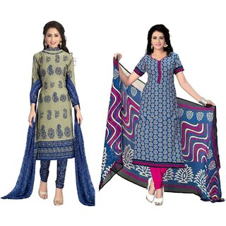 Sonal Trendz Combo of 2 Printed Crepe Salwar Suit Dress Material UnStitched