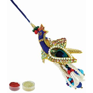 Peacock Rakhi With Tilak