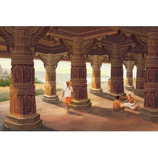 Walls and Murals -Temple CourtyardCanvas Print - No Frame (30 x 45 Inch)