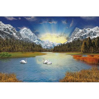 Walls and Murals -Swan Winter Arrival Digital Art Canvas Print - No Frame (12 x 18 Inch)