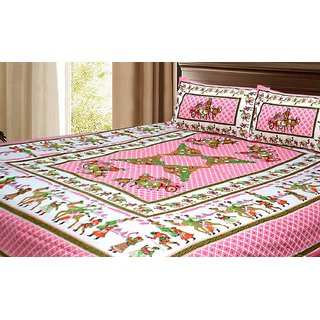 Avioni Double Bed Sheet Ethnic Barat Print Pink Color 100 Fine Cotton