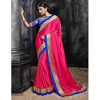 Thankar online trading Pink Chiffon Plain Saree With Blouse