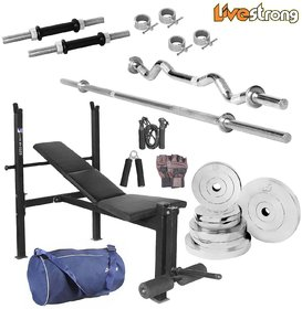 LiveStrong 30 kg chrome steel plates  home gym combo 5 with blue bag