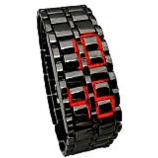 Samurai Led Black Steel Watch - Unisex