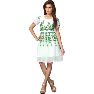 Goldy Shoppers Georgette  Stitched green Kurti