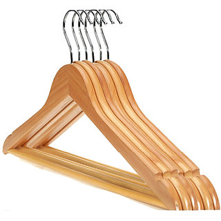 Wooden cloth hangers - set of 6 (Premium import quality)