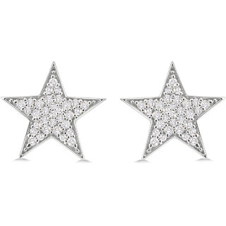 Silver Dew 925 Sterling Silver Stud Star Earring With CZ