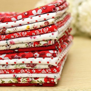 KINGSO 7PCS Cotton Fabric Bundles Quilting Sewing Patchwork DIY Craft 19.7x19.7inch Red