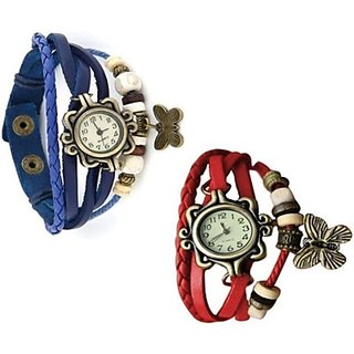 fast selling Butterfly ladies watch Combo Vintage Design Watches (BLUE  RED)