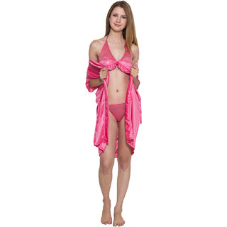 Katrina Kaif Hot and Sexy Pink Satin 3 Pc Set Kn30 Katrina