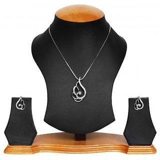 Pretty  modern rhodium plated pendant set by Prakasini