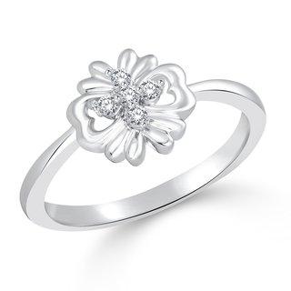 Classic Flower Heart (CZ) Rhodium  Plated Ring for Women Size 15  CJ1002FRR15