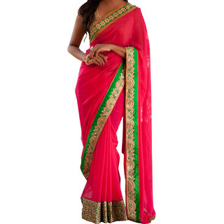 Self Designed Georgette Pink Designer Saree