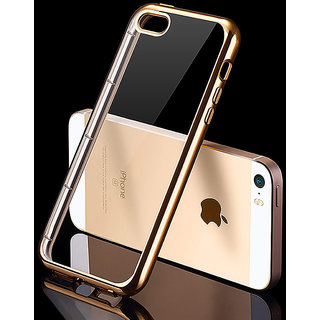 Iphone 5S Golden Bumper Transparent Back Cover