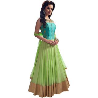 Fabnil Casual Wear Green Colored Net Plain Dress Material