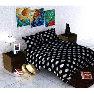 Cotton Box Motifs Black 100 Cotton King Bedsheets