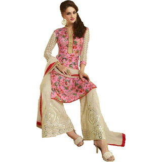 Fabnil Casual Wear Pink Colored Bhagalpuri Embroidered Dress Material