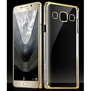 Samsung Galaxy J5 Golden Bumper Transparent Back Cover