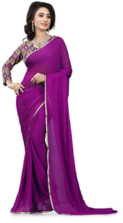 Sonika Womens Magenta Silk Saree with Self Golden Border and Unstitched Net Embroideried Blouse Piece