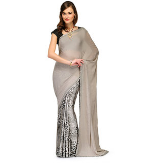 Gray Faux Crepe and Satin Half and Half Saree