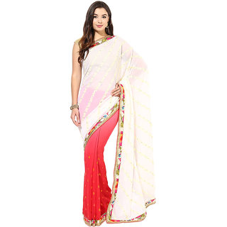 White, Peach And Red Faux Georgette Half And Half Saree