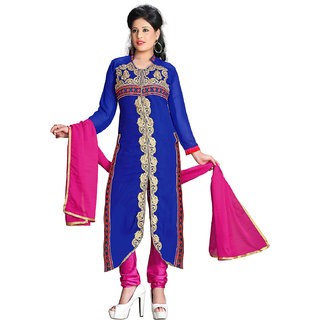Zhot Fashion Blue Georgette Embroidered Salwar Suit Dress Material