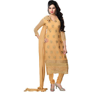 Zhot Fashion Beige Georgette Embroidered Salwar Suit Dress Material (Unstitched)