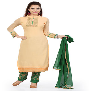 Zhot Fashion Beige Georgette Embroidered Salwar Suit Dress Material
