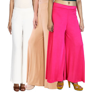 SNP White ,Beige  Pink Long Palazzo, Pants  trousers Pack of 3
