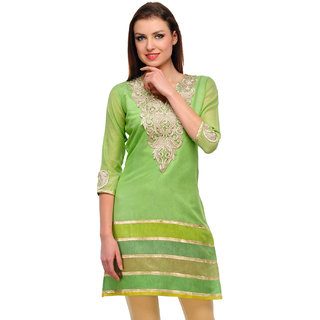 Chanderi Green V Neck Kurti