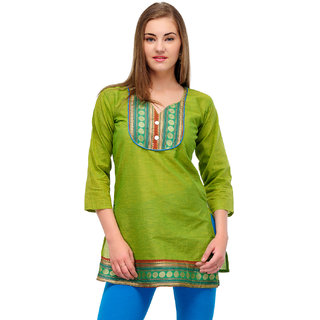 Cotton Green Sweet Heart Kurti