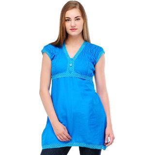 Cotton Blue V Neck Kurti