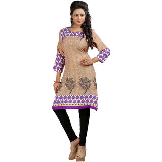 Crepe Purple Beige Sweet Heart Kurti
