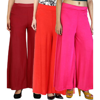 SNP Maroon ,Red  Pink Long Palazzo, Pants  trousers Pack of 3