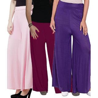 SNP Pink ,Purple  Purple Long Palazzo, Pants  trousers Pack of 3