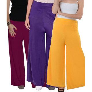 SNP Purple ,Purple  Yellow Long Palazzo, Pants  trousers Pack of 3