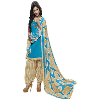 Zhot Fashion Blue Cotton Printed Salwar Suit Dress Material (Unstitched)