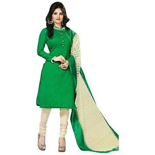 Zhot Fashion Green Georgette Embroidered Salwar Suit Dress Material (Unstitched)