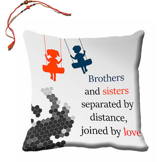 meSleep Grey Brother  Sister Rakhi Cushion (With Filling - 16x16 Inches) With Beautiful Rakhis