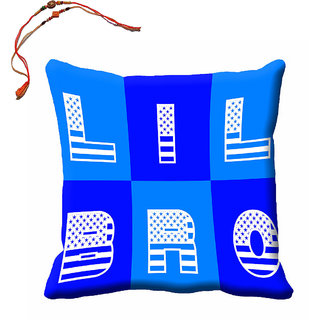 meSleep Blue Lil Bro Rakhi Cushion Cover (16x16) With Beautiful Rakhis